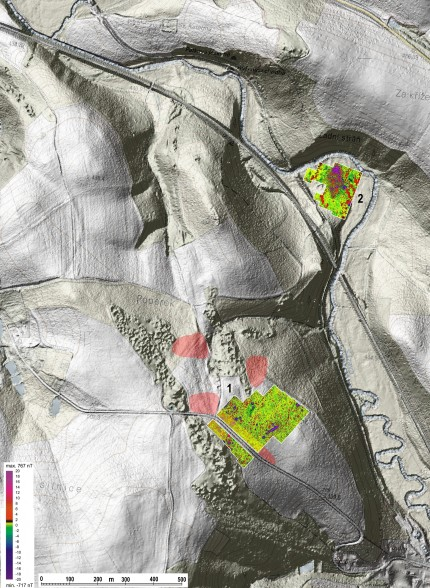 LiDAR scan of area with visible mining relicts and geophysical survey results of mining settlements (picture: P. Hrubý, Masaryk University of Brno) )