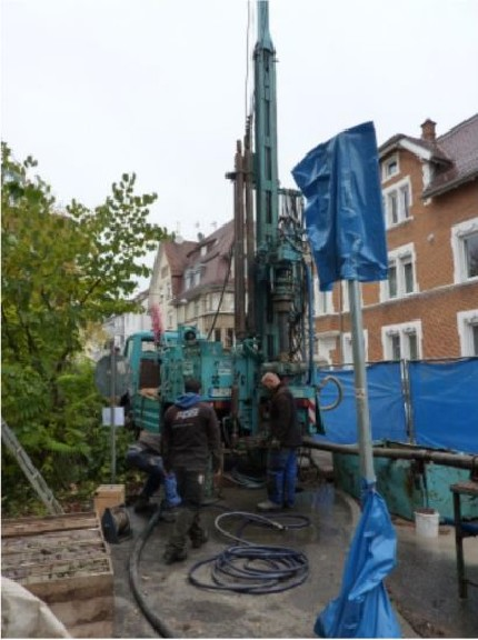 Drilling campaign in Stuttgart-Feuerbach
