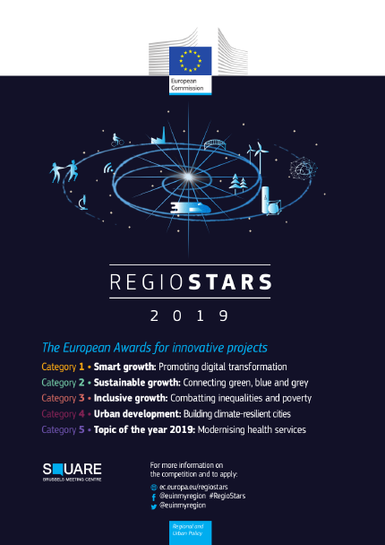 Image of Regiostars logo with titles of the 5 competition categories.